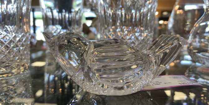 waterford bird and glasses